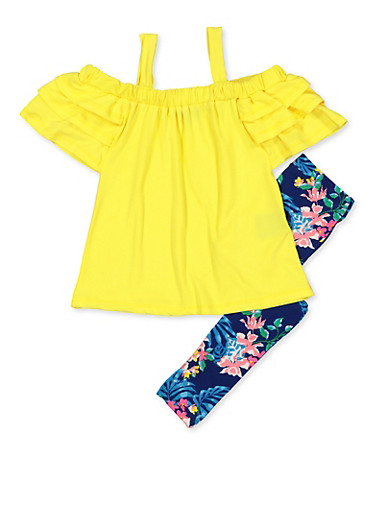 Girls 4-6x Soft Knit Cold Shoulder Top with Floral Leggings,NAVY,large