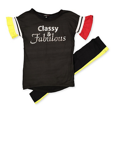 Girls 4-6x Classy and Fabulous Tee and Leggings Set,BLACK,large