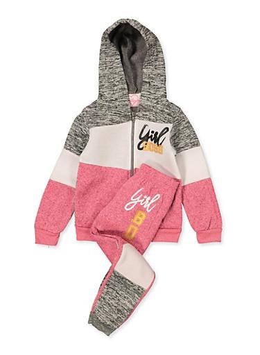 Girls 4-6x Girl Boss Color Block Sweatshirt and Joggers,PINK,large