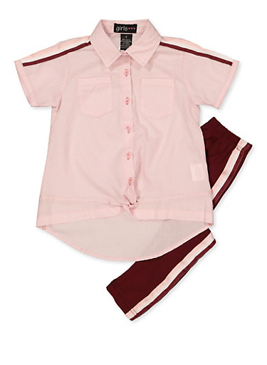 Girls 4-6x Striped Twist Front Shirt with Leggings,PINK,large