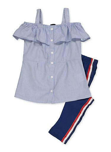 Girls 4-6x Ruffled Striped Shirt with Leggings,NAVY,large