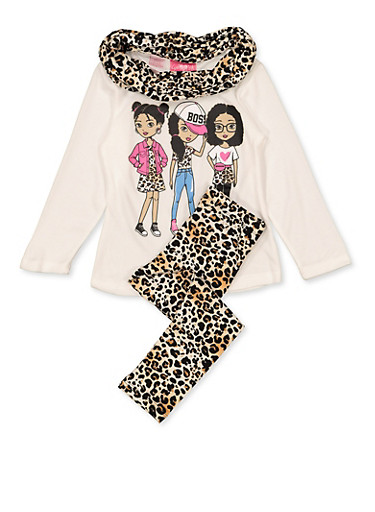 Girls 4-6x Knit Boss Top with Leggings and Scarf,IVORY,large