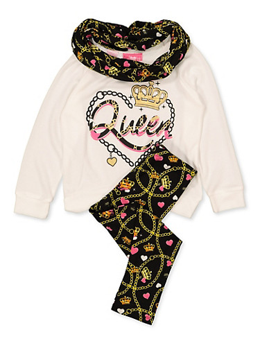 Girls 4-6x Knit Queen Top with Leggings and Scarf,IVORY,large