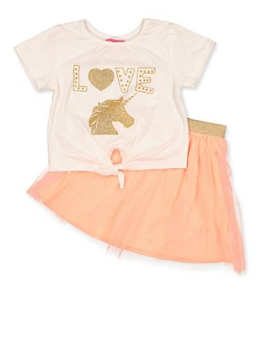 Girls 4-6x Love Unicorn Tee with Tutu Skirt,PEACH,large