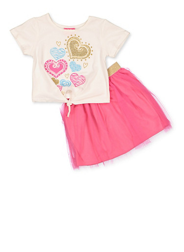 Girls 4-6x Heart Graphic Top with Tutu Skirt,FUCHSIA,large
