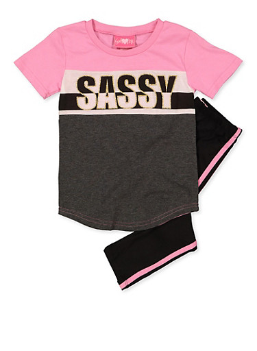 Girls 4-6x Sassy Color Block Tee with Leggings,PINK,large
