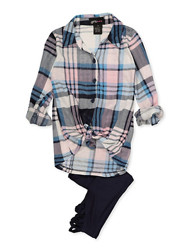 Girls 4-6x Plaid Tie Front Shirt with Leggings,NAVY,large