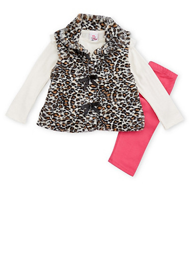 Girls 4-6x Faux Fur Leopard Print Vest with Top and Leggings,IVORY,large