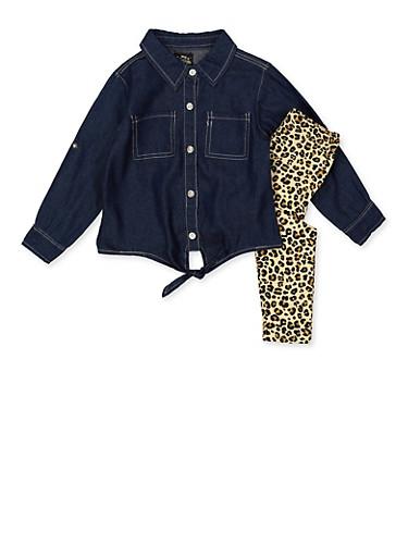 Girls 4-6x Denim Shirt and Leopard Leggings Set,BLUE,large