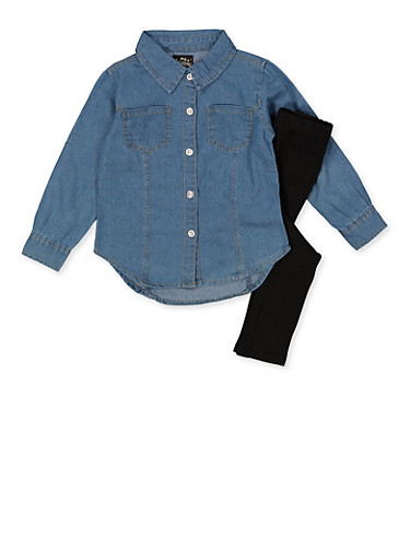 Girls 4-6x Denim Shirt and Leggings Set,MEDIUM WASH,large