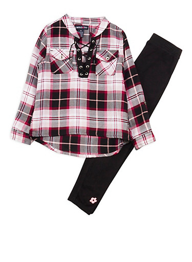 Girls 4-6x Limited Too Pink Plaid Lace Up Top with Leggings Set,MAGENTA,large