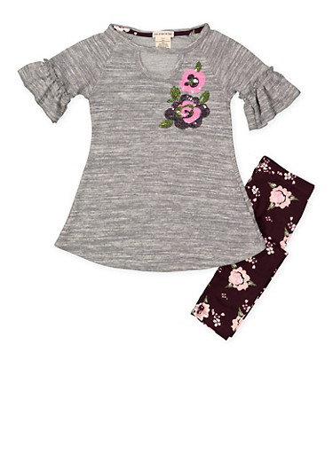 Girls 4-6x Knit Tunic Top and Floral Leggings,HEATHER,large