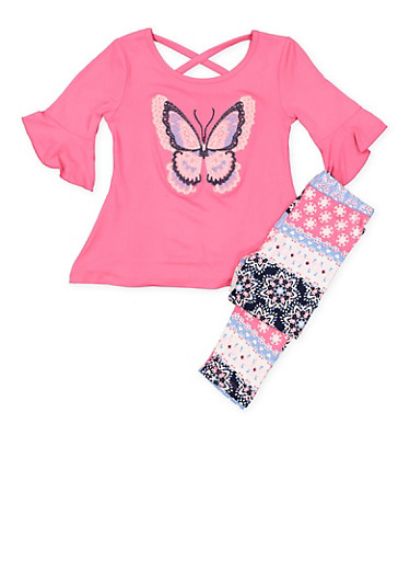 Girls 4-6x Butterfly Graphic Top and Leggings Set,FUCHSIA,large