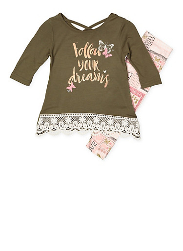 Girls 4-6x Foil Graphic Tee with Printed Leggings,OLIVE,large