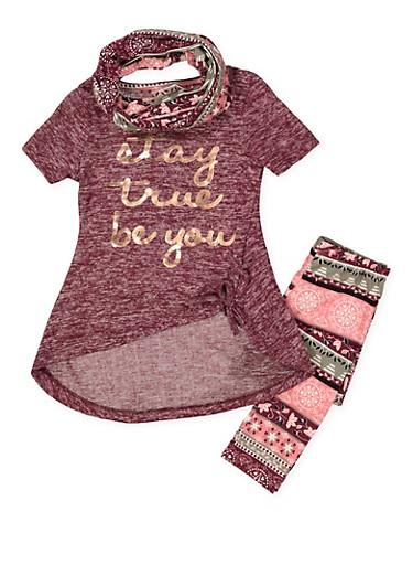 Girls 4-6x Graphic Tee with Printed Leggings and Scarf,WINE,large