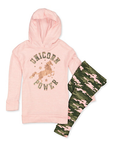 Girls 4-6x Unicorn Power Knit Top with Leggings,PINK,large