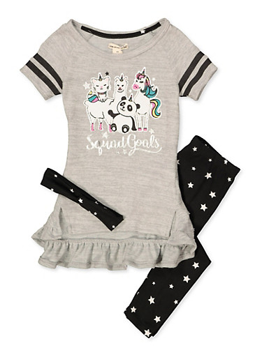 Girls 4-6x Squad Goals Knit Top with Leggings and Headband,HEATHER,large