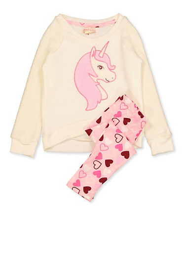 Girls 4-6x Faux Fur Unicorn Sweatshirt and Leggings,IVORY,large