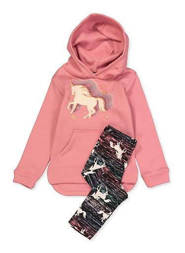 Girls 4-6x Unicorn Sweatshirt and Leggings Set,PINK,large