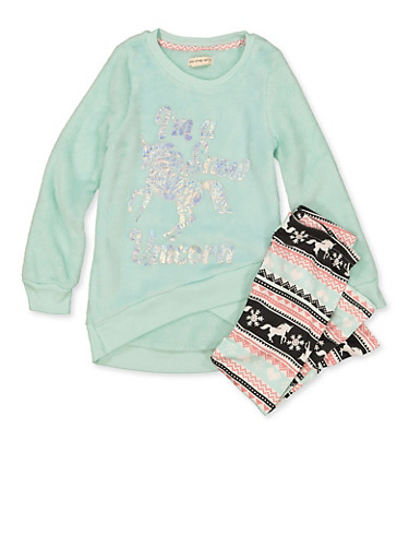 Girls 4-6x Im a Snow Unicorn Plush Sweatshirt with Leggings,MINT,large