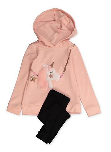 Girls 4-8 Faux Fur Unicorn Sweatshirt with Leggings,BLUSH,large