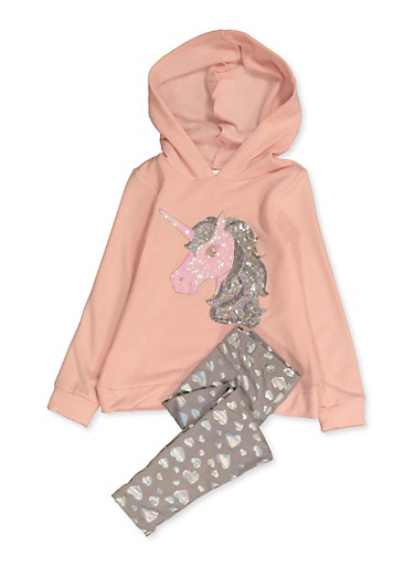 Girls 4-8 Sequin Unicorn Sweatshirt and Leggings,BLUSH,large