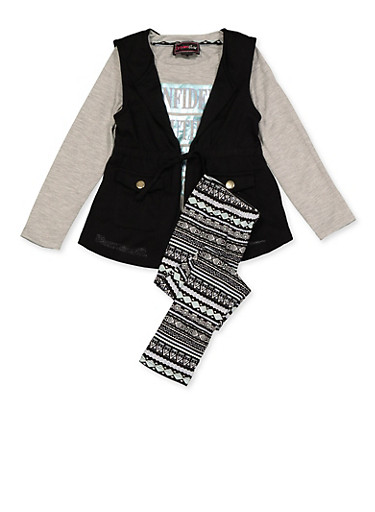Girls 4-6x Genius Graphic Tee with Vest and Leggings,BLACK,large