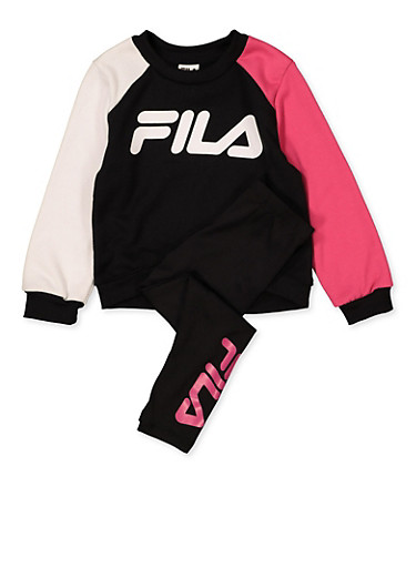 Girls 4-6x Fila Color Block Sweatshirt with Leggings,BLACK,large