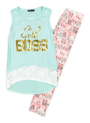 Girls 7-16 Graphic Tank Top with Printed Leggings,MINT,large