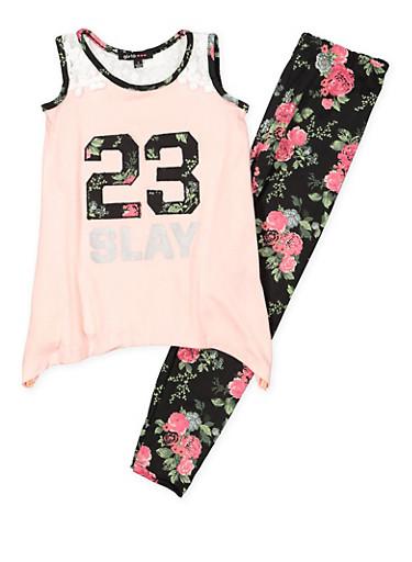 Girls 7-16 Graphic Tank Top with Printed Leggings,BLACK,large