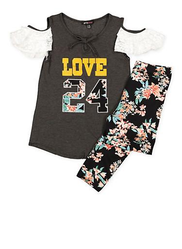 Girls 7-16 Lace Trim Top and Printed Leggings,BLACK,large