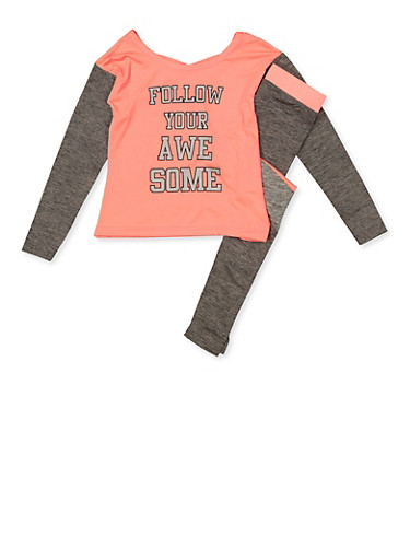 Girls 7-16 Follow Your Awesome Active Top and Leggings,CORAL,large