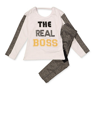 Girls 7-16 The Real Boss Active Top and Leggings,WHITE,large