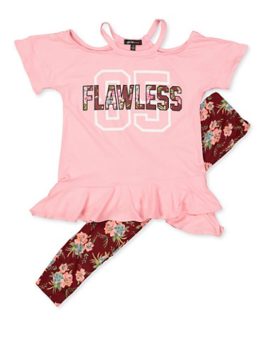 Girls 7-16 Flawless Cold Shoulder Top and Floral Leggings,MAUVE,large