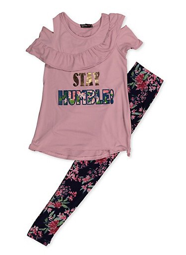 Girls 7-16 Stay Humble Cold Shoulder Top and Leggings,MAUVE,large