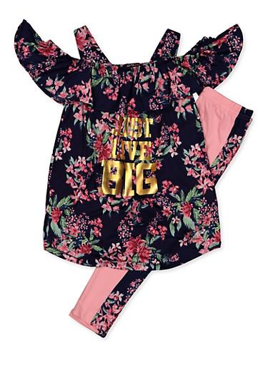 Girls 7-16 Floral Just Live Big Cold Shoulder Top and Leggings Set,NAVY,large