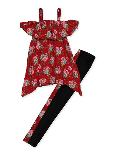 Girls 7-16 Floral Cold Shoulder Top with Leggings,RED,large