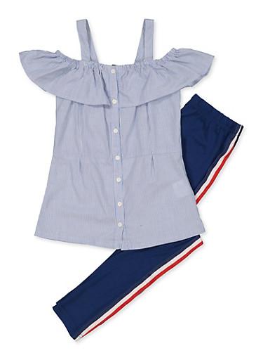 Girls 7-16 Ruffled Striped Shirt with Leggings,NAVY,large