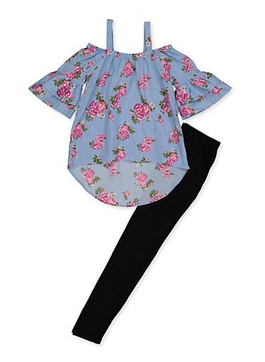 Girls 7-16 Floral Cold Shoulder Top and Leggings,BABY BLUE,large