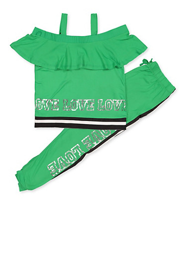 Girls 7-16 Love Graphic Cold Shoulder Top and Leggings,GREEN,large