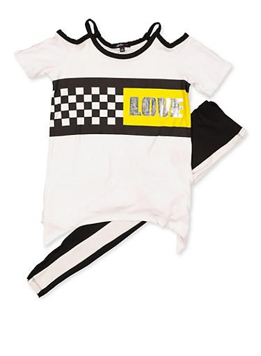 Girls 7-16 Foil Love Cold Shoulder Top and Leggings,BLACK/WHITE,large