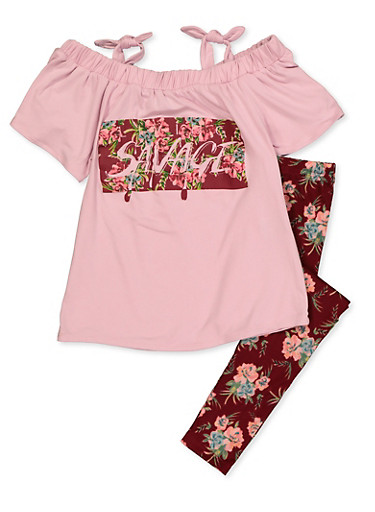 Girls 7-16 Living Savage Top with Floral Leggings,MAUVE,large