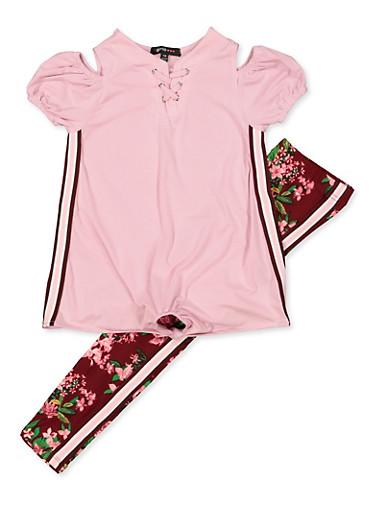 Girls 7-16 Cold Shoulder Striped Tape Top with Floral Leggings,MAUVE,large