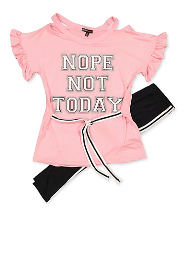 Girls 7-16 Nope Not Today Top and Leggings Set,MAUVE,large