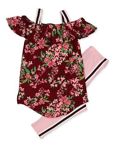 Girls 7-16 Ruffled Floral Top with Leggings,MAUVE,large