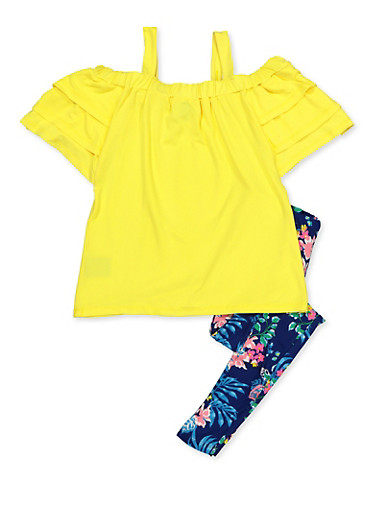 Girls 7-16 Tiered Cold Shoulder Top and Floral Leggings,YELLOW,large