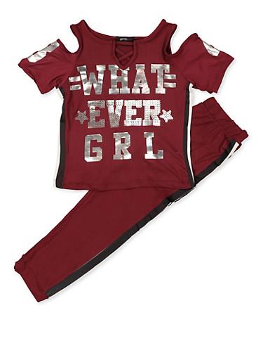 Girls 7-16 Foil Whatever Grl Cold Shoulder Top and Leggings,WINE,large