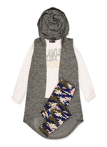 Girls 7-16 Glitter Graphic Top with Duster and Leggings,CHARCOAL,large