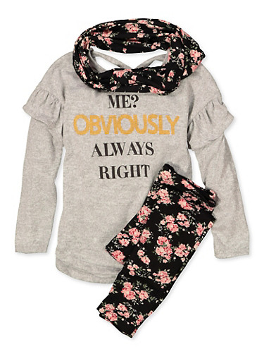 Girls 7-16 Graphic Knit Top with Leggings and Scarf,HEATHER,large
