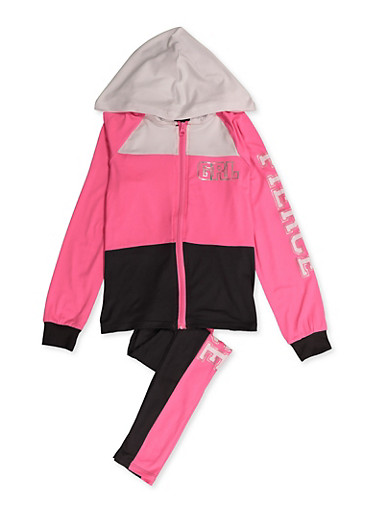 Girls 7-16 Grl Fierce Color Block Sweatshirt and Leggings,PINK,large
